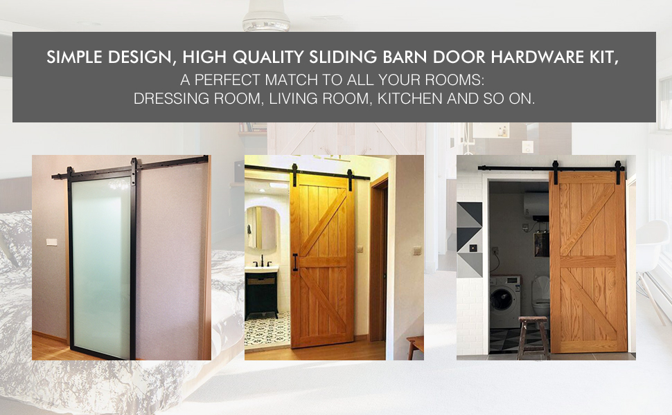Sliding barn door hardware kit J shape hanger