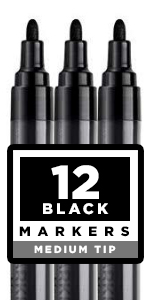 Black Paint pens for Rock Painting, Stone, Ceramic, Glass