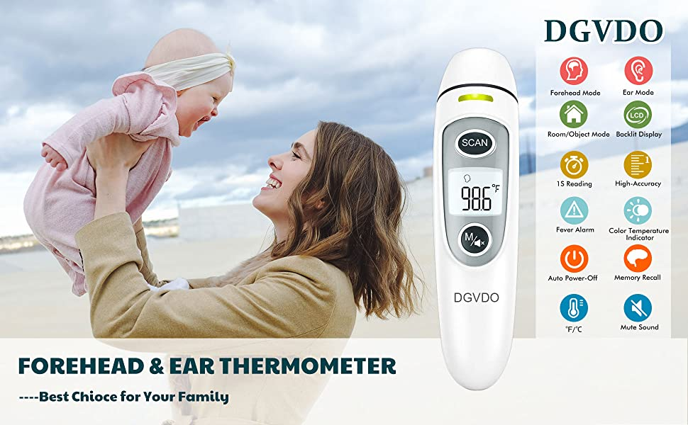 Forehead Thermometer for Adults Touchless Infrared Digital Thermometer No Touch for Fever Baby Kids Child with Fever Alarm 35 Groups Data Storage