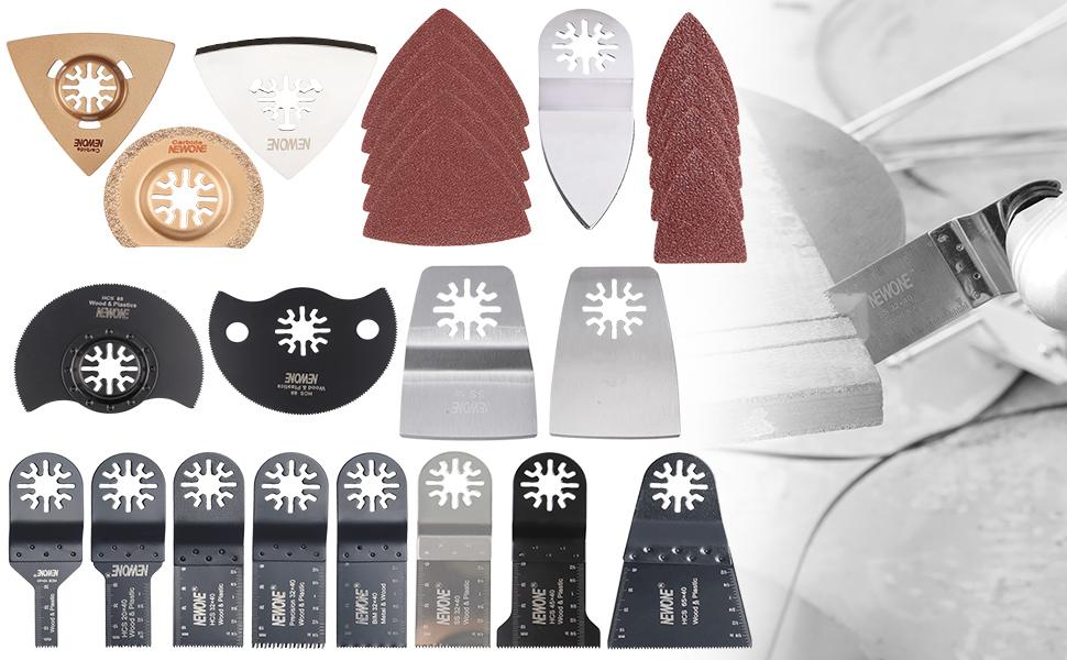 50Pcs Juego de Cuchillas Oscilantes Universal para Sierra de Madera Hoja de Sierra Oscilante Mutiherramientas Oscilantes Accesorios de Cortadores para Herramienta El/éctrica