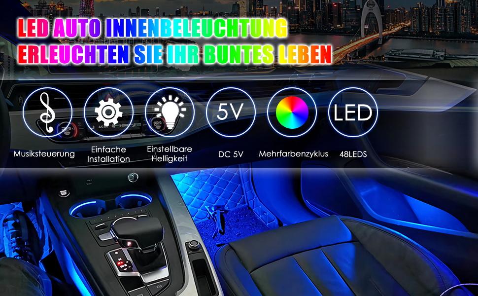 Led Innenbeleuchtung Auto Leicestercn Fußraumbeleuchtung Mit Fernbedienung Rgb Ambientebeleuchtung Auto Innenraum Led Strip Atmosphäre Licht Mit Usb Port Und Musik Steuerbar Auto