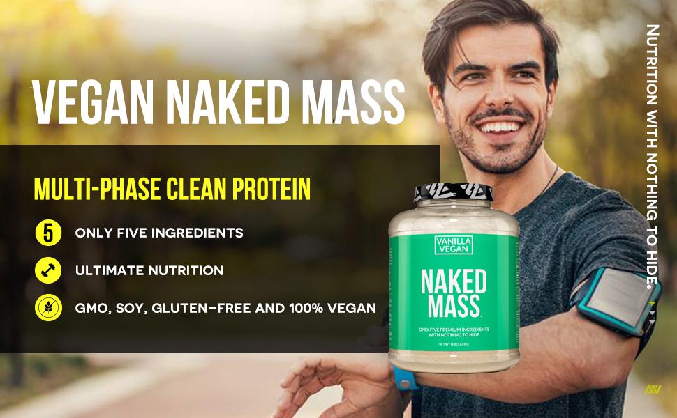 vanilla vegan mass gainer protein powder, vegan protein powder, gluten free vanilla mass gainer