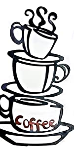 Black Coffee Cup Silhouette Metal Wall Art for Home Decoration, Java Shops, Restaurants, Gifts