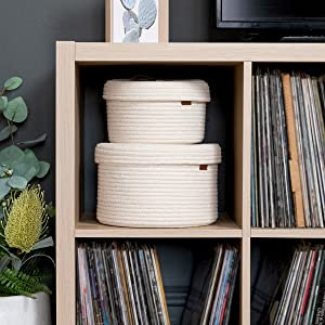 stackable cube shelf baskets with lids