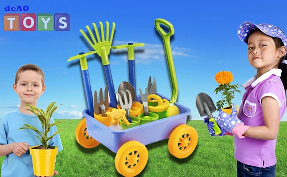 deAO Carretilla y Herramientas de Jardín para Niños y Niñas Juego de Botánica y Jardinería Infantil Conjunto Incluye 10 Accesorios y 4 Macetas: Amazon.es: Juguetes y juegos