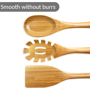 Smooth Bamboo Kitchen Utensil Set with Holder
