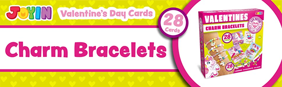 28 Packs Unicorn Valentines Day Cards with Bracelets