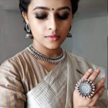 Traditional-SO Latest Trendy style oxidized silver jewellery celebrity look
