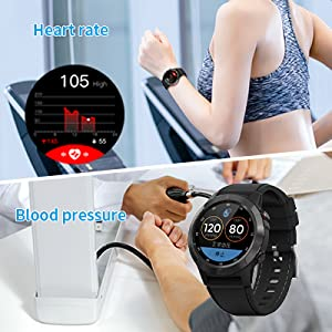 smart watch with heart rate blood pressure monitor