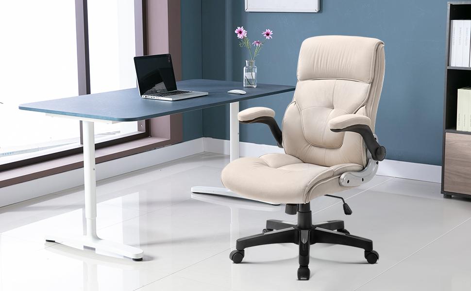 Executive Office Chair Fabric, Adjustable Tilt Angle and Flip-up Arms Computer Desk Chair