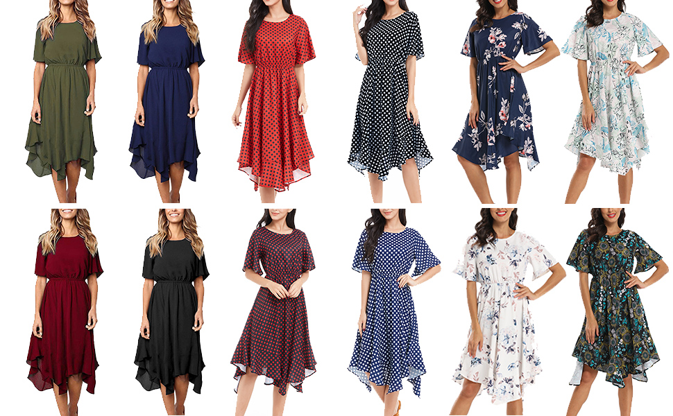Casual chiffon midi dress