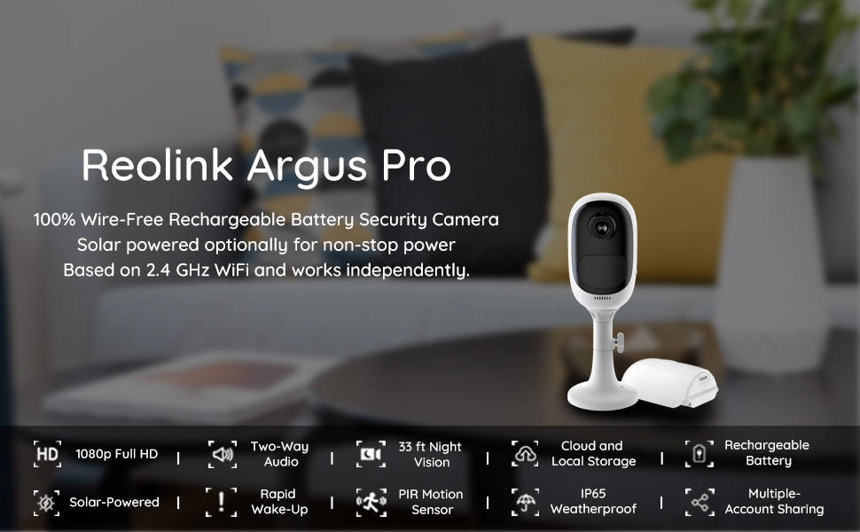 Reolink Argus Pro Wireless Outdoor Security Camera, Waterproof  Solar-Powered Rechargeable Battery, 1080p HD Night Vision, Wire-Free 2-Way  Audio with