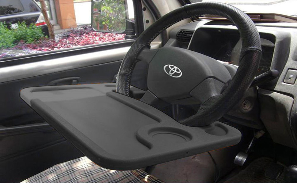 Lifestyle-You Multifunctional Car Laptop Food Steering Wheel Tray Drink Holder Desk (Black)