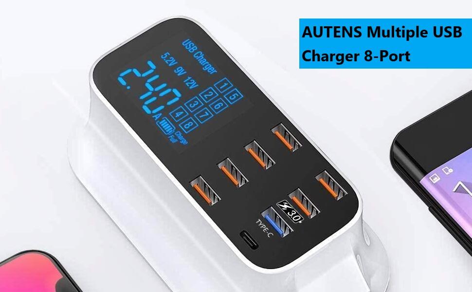 AUTENS Multiple USB Charger 8-Port Desktop Charging Station Hub