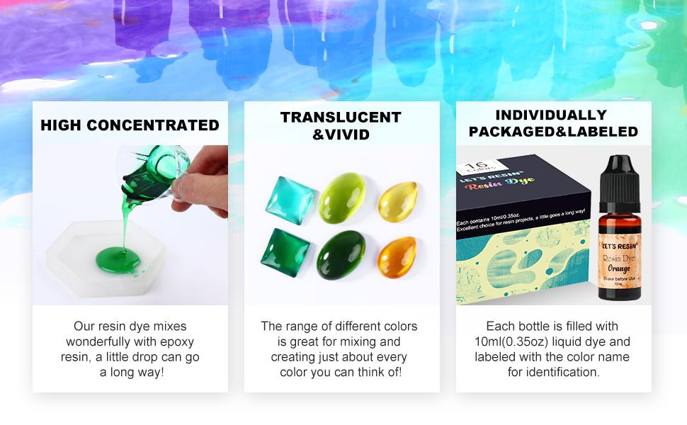 LET'S RESIN Epoxy Pigment 16 Colors Epoxy Resin Dye