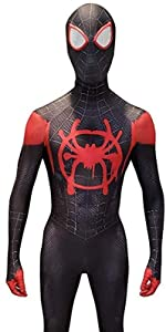 miles morales cosplay costume spiderman spider into the spiderverse black symbiote halloween costume