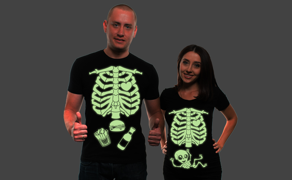Halloween costumes for women decorations maternity pregnancy skeleton x-ray glow in the dark