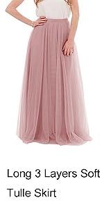 Maxi Floor Length 3 Layers Soft Tulle Bridesmaid Tulle Skirt