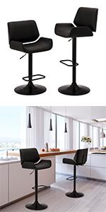 Set of 2 Mid-century Modern Adjustable Height Swivel Bar Stool