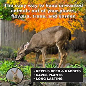 Keep unwanted deer out of gardens, plants, flowers, and trees