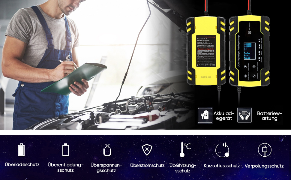 Haofy Autobatterie Ladegerät 8a 12v 4a 24v Batterieladegerät Auto Vollautomatisches Ladegerät Mit Lcd Bildschirm Für 12v 24v 2ah 150ah Blei Säure Batterie Start Stopp Batterie Außer Lithium Batterie Auto