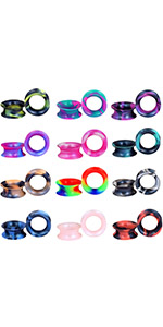 colorful silicone ear tunnels