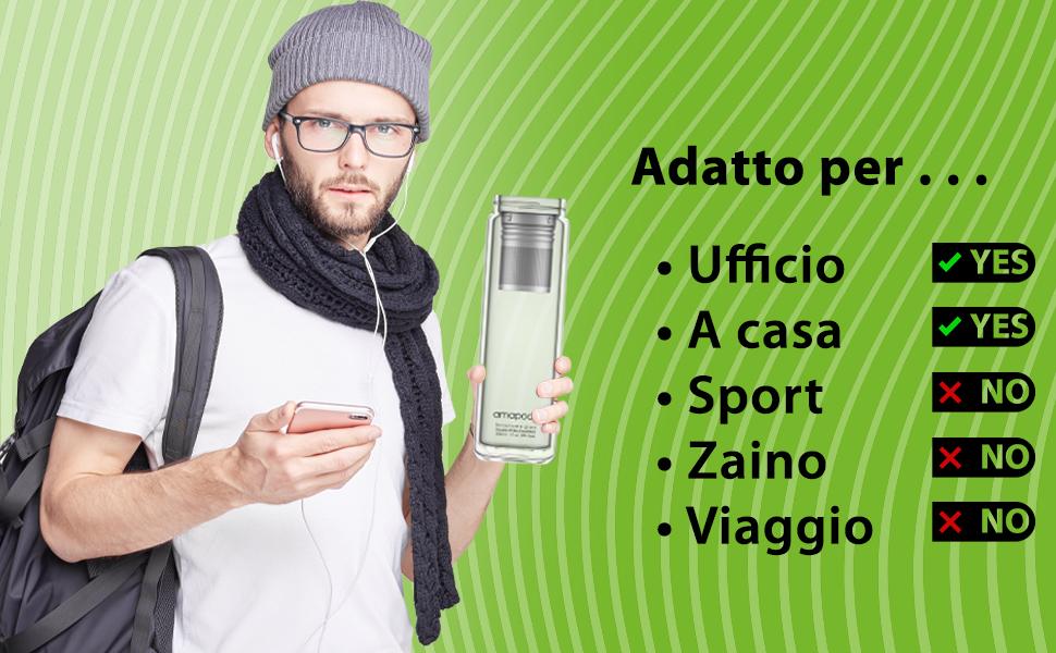 Teiera amapodo teeflasche doppia Filtro Tè /& Coperchio Colino per tè senza