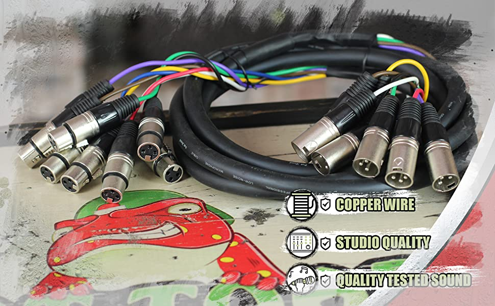 XLR Snake Cable Patch Fat Toad 8-Channel Pro Audio Mic Cord Mixer Sound Stage