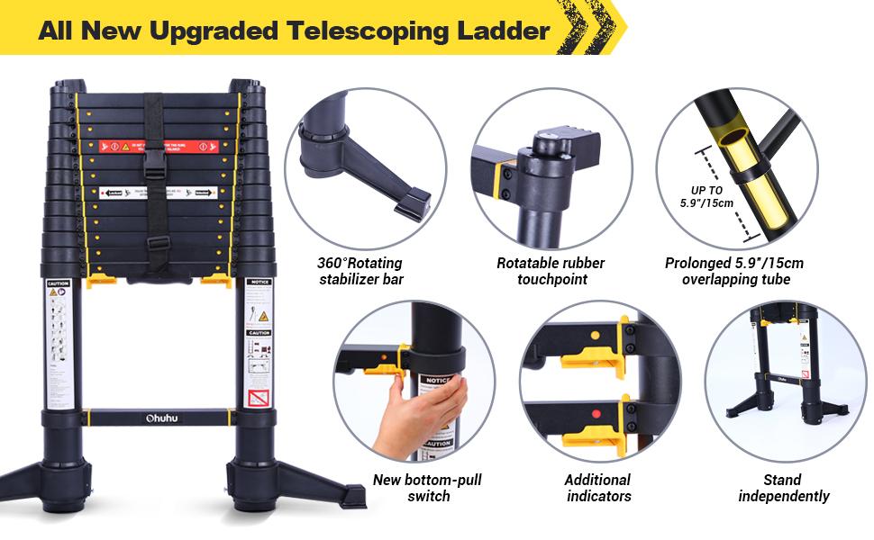 telescopic ladder Aluminum Extension Ladder Heavy Duty Extendable Telescopic Ladder rv roof ladder