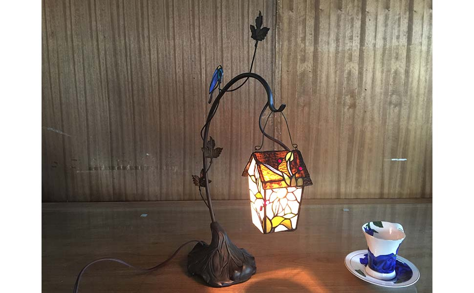 Bieye L10617 birdhouse Tiffany Style Stained Glass Table Lamp Night Light