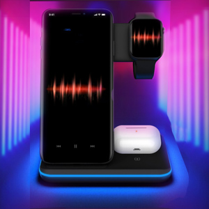 Breathing Blue Light  Any Warphone 3 in 1 Wireless Charging Stand for Latest Airpods iPhone and iWatch, Compatible for iPhone 11 Pro Max/X/XS Max/8 Apple Watch Charger 5/4/ 3/2 /1 Airpods 2/3 0632670c 35b6 4caf 8fd9 eb21d4244af1