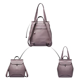 Heshe Leather Backpack Casual Backpacks Daypack for Womens and Ladies
