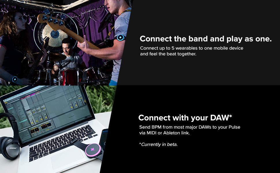 Soundbrenner Pulse, DAW, MIDI, Ableton, Multi player, connect, band, device, rhythm, guitar, piano
