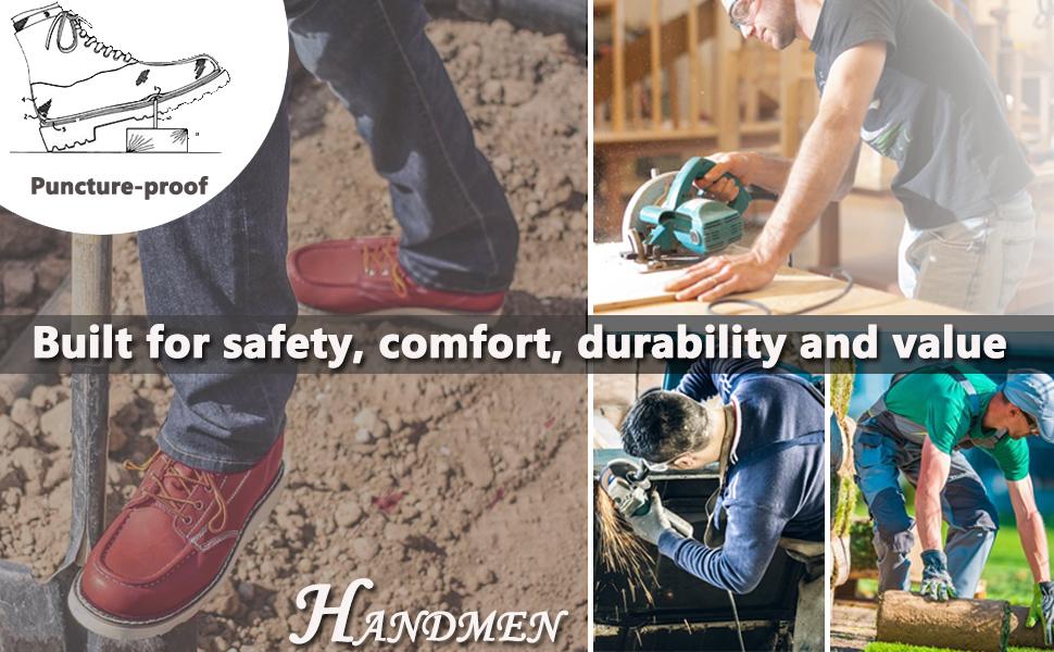 handmen work boots brown moc toe waterproof