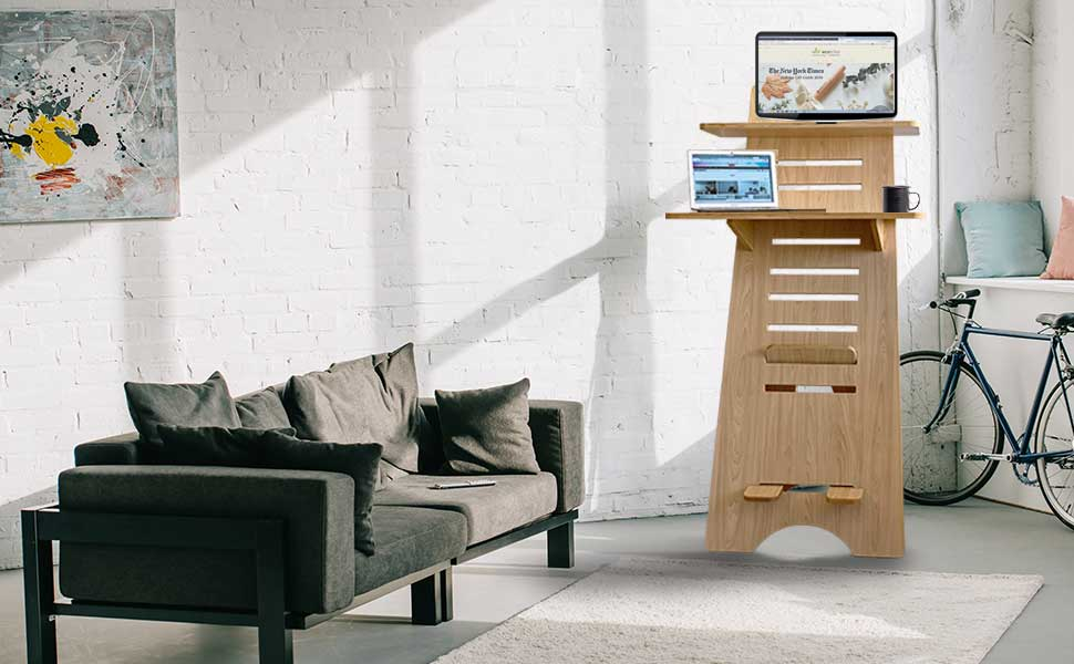 ECOTRIBE BEECH WOOD SIT STAND DESK