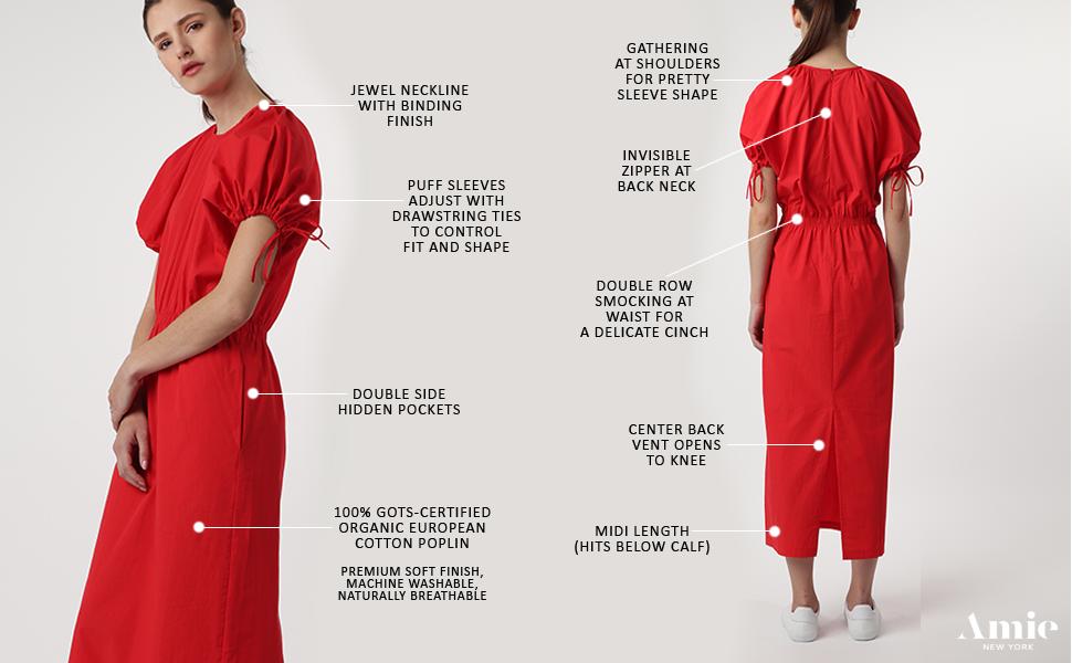 amie new york womens ladies dress puff sleeve spring summer red trendy long beach vacation organic