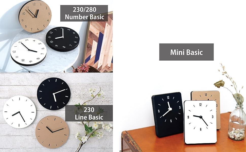 thehaki clock paper basic mini 230 280 number line type