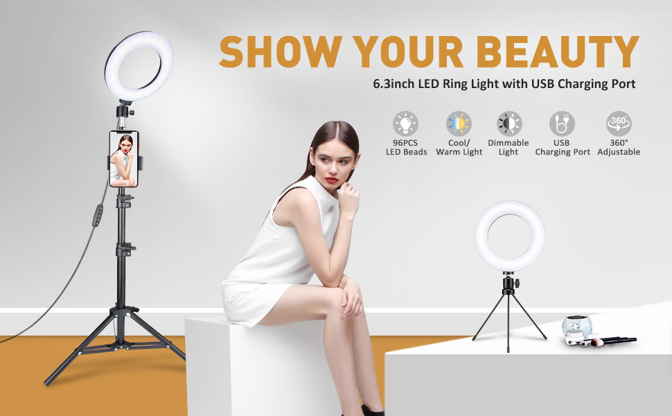 "VicTsing LED Ring Light with Tripod Stand, Desk & Floor Standing, 6.3""(16cm) Dimmable 5 Light Modes & 5 Brightness Selfie Ring Light for Phone, iPhone, Tiktok, Selfie, Makeup(Black)"