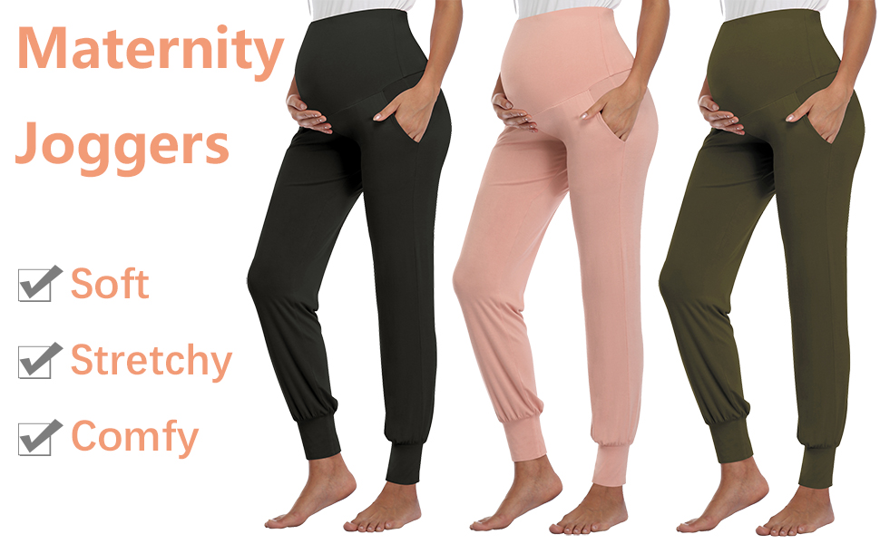 AMPOSH Womens Maternity Pants Stretchy Lounge Workout Pants Casual Loose Comfy Pregnancy Joggers with Pockets