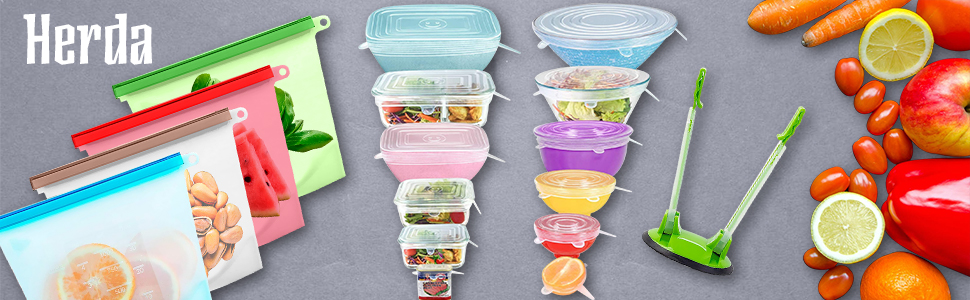 Reusable Airtight Silicone Food Storage Bags Reusable Silicone Stretch Lids