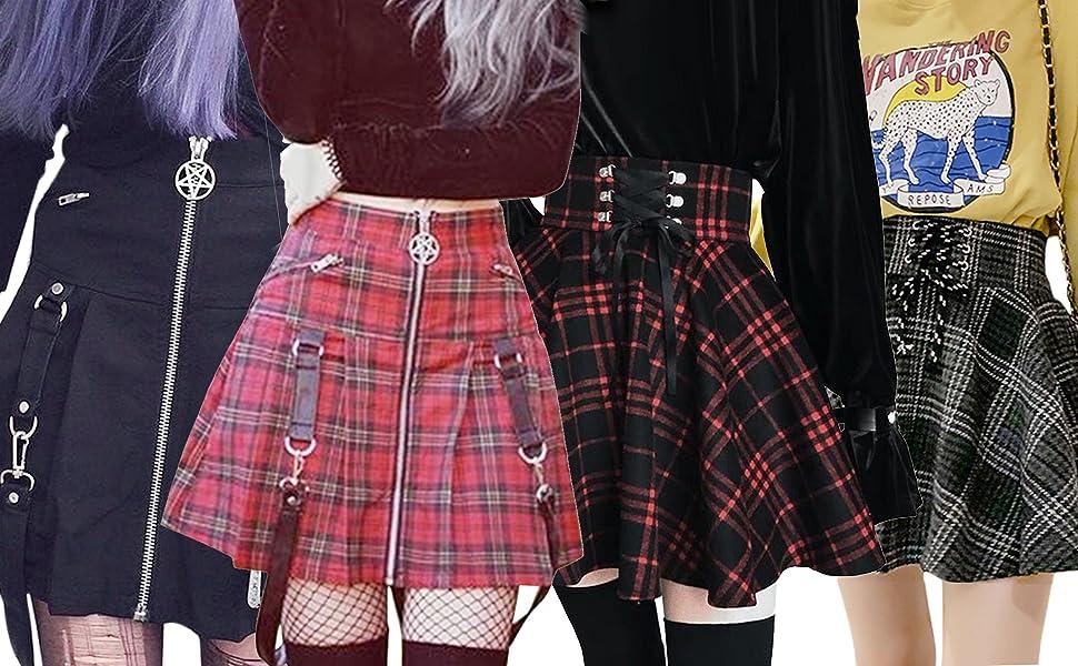 gothic plaid pleated skirt