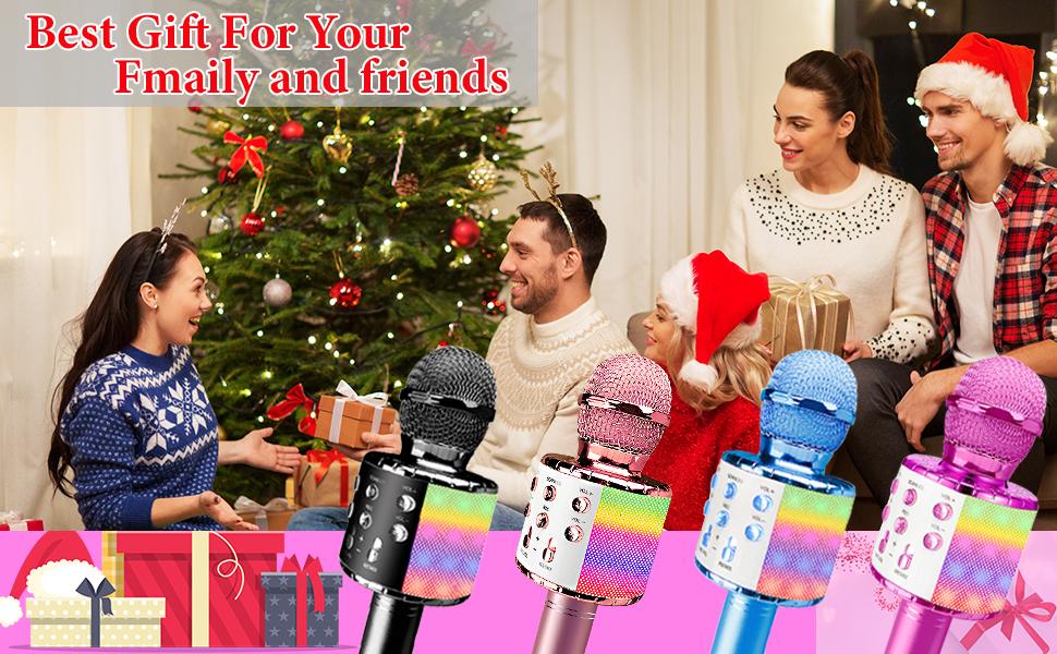 Kids Toys Girls Boys Wireless Bluetooth Karaoke Microphone LED Lights Gift Speaker Smartphone