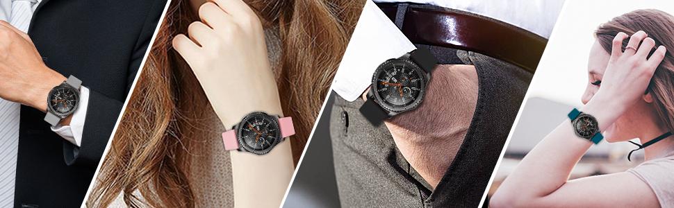 Bracelet en silicone noir compatible avec Gear S3 Frontier de 22 mm.