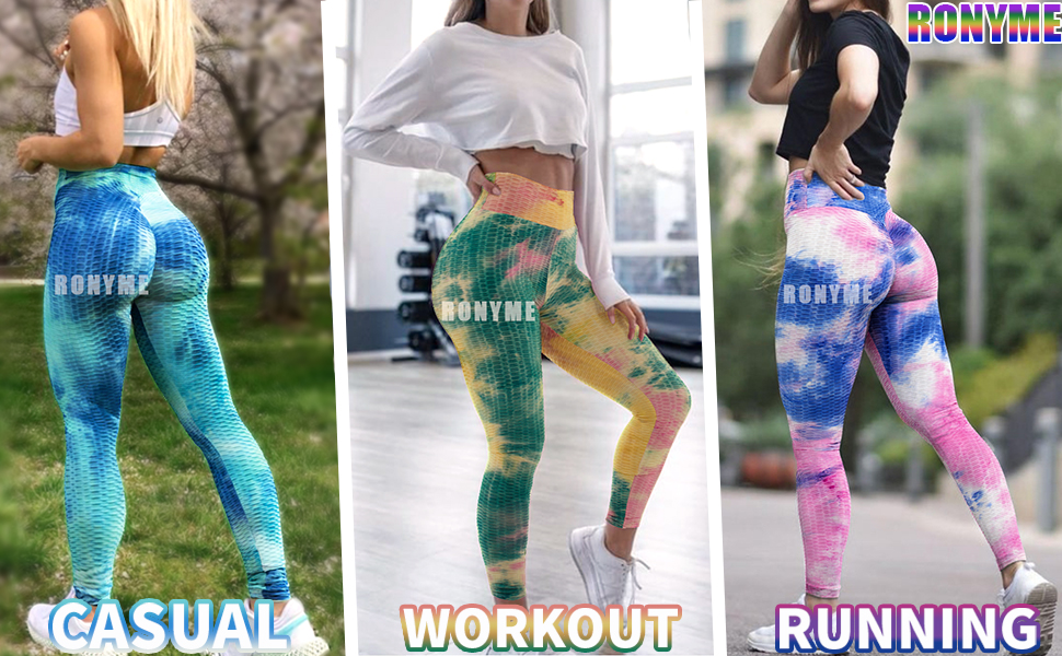 Yoga Leggings Pants for Women Ruched Butt Lifting Workout Tummy Control Booty Tights XSSFCC High Waisted Yoga Pants