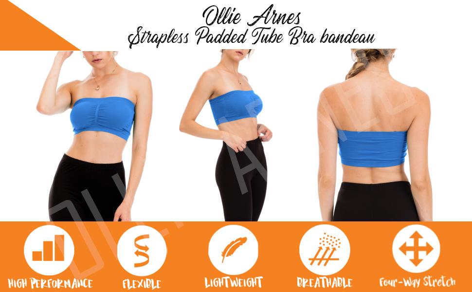 OLLIE ARNES Womens One Size Strapless Seamless Stretch Bandeau Tube Bra Top