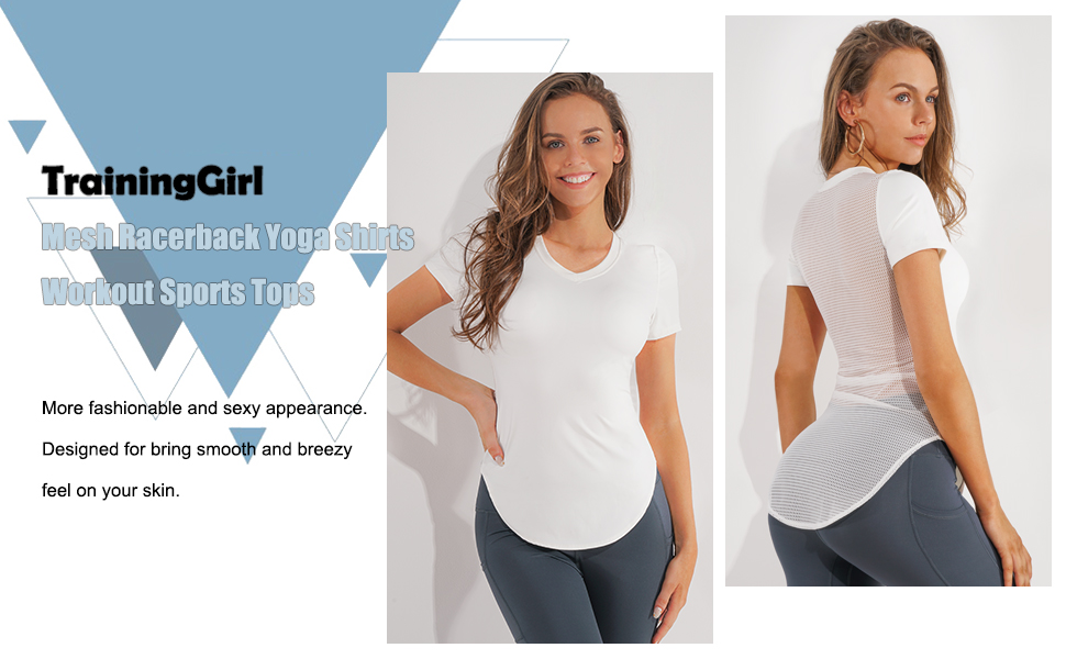 TrainingGirl Womens Slim Fit Workout Tops Mesh Back Yoga Crop Tops Short Sleeve Athletic Gym Fitness Shirt with Built in Bra