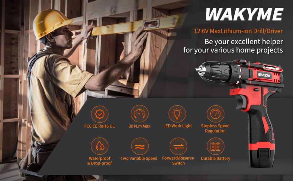 WAKYME 12.6V 30N.m Drill Driver Set