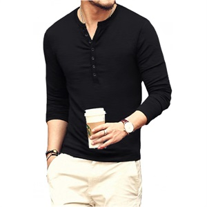 YTD Mens Casual Slim Fit Basic Henley Long Sleeve Fashion T-Shirts
