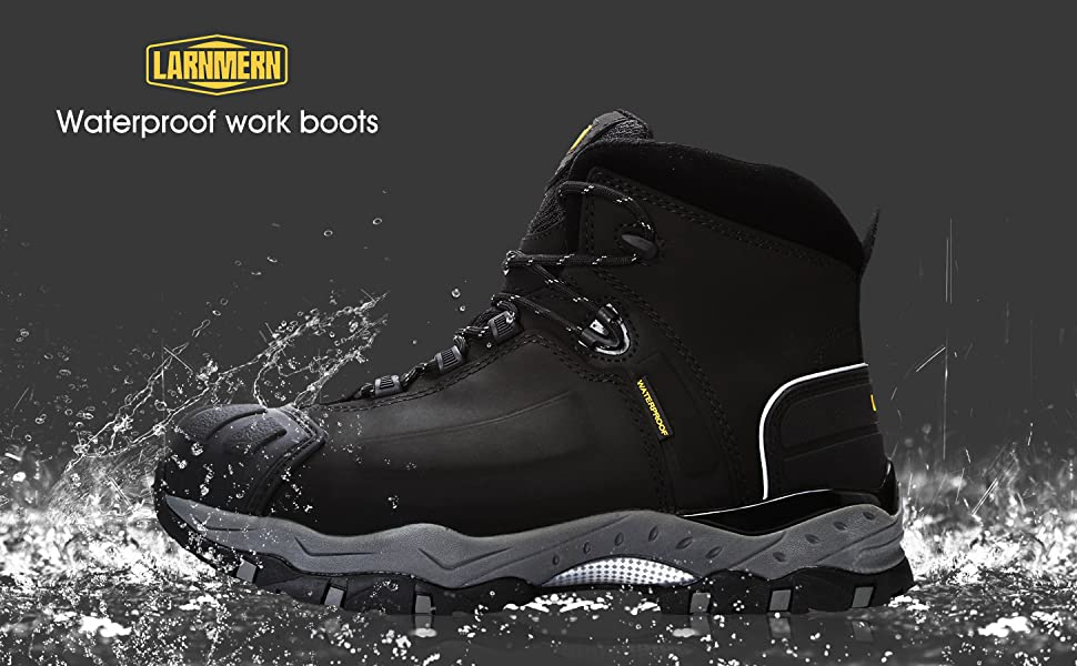 LARNMERN Mens Steel Toe Safety Shoes Martin Boots SRC S3 Waterproof Boots