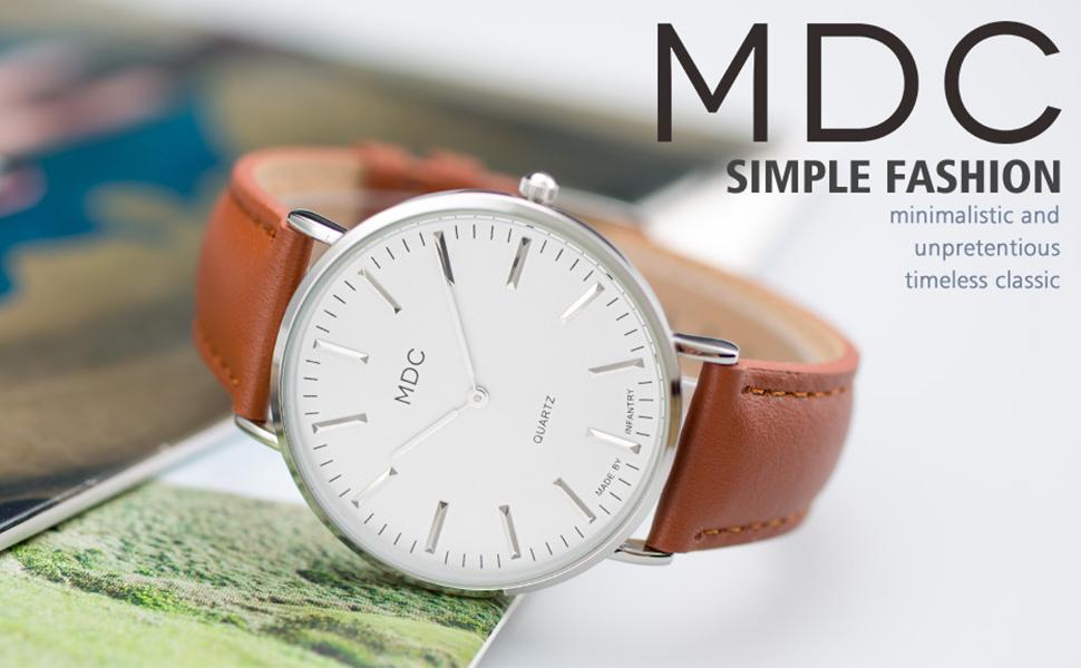 MDC Mens Classic Black Brown genuine Leather Watch Slim Business Minimalist Wrist Watches for Men